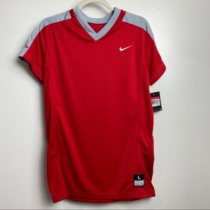 New Nike dry fit athletic top Sz large red & gray